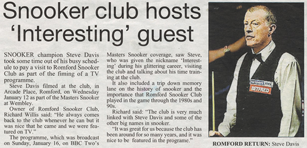 Romford Snooker Club hosts Steve Davis